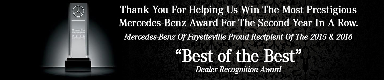 Mercedes-Benz of Fayetteville Wins 2015 Best of the Best Award Header