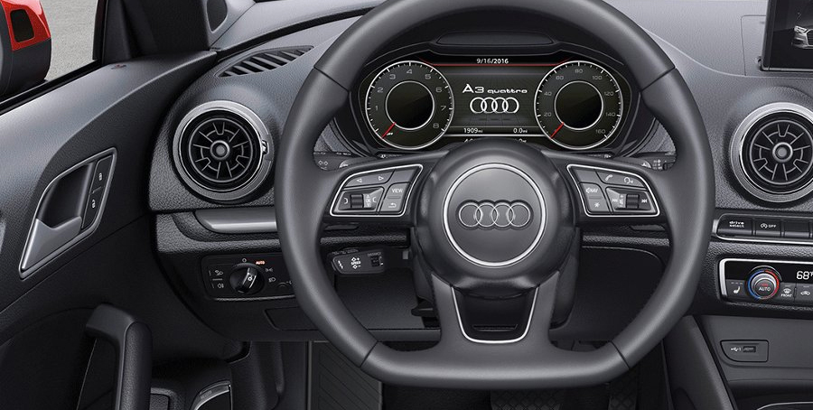 2017 Audi A3 Cabriolet Three-spoke multifunction sport steering wheel Leather seating surfaces