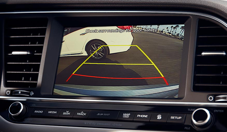 Rearview camera with dynamic guidelines